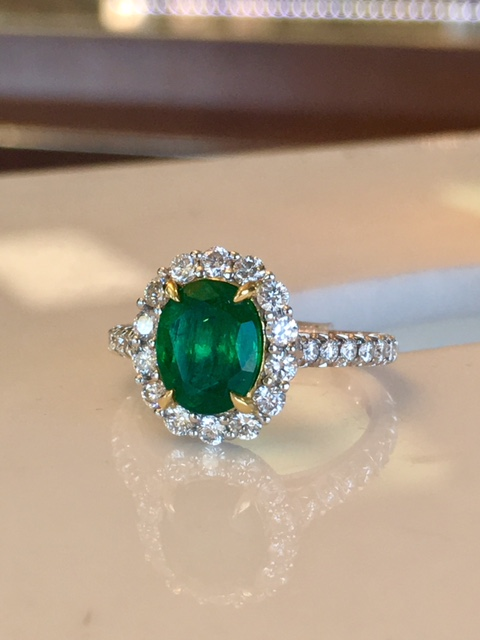emerald ring with diamonds st. patrick's day jewelry